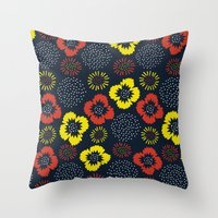 Blooming Wild (red & Yel… Throw Pillow