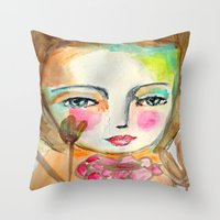 2 girls Throw Pillow