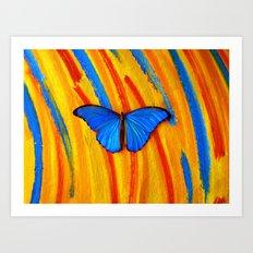 Blue Morpho on #3 Art Print