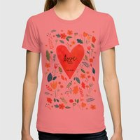 Love never fails Womens Fitted Tee Pomegranate SMALL