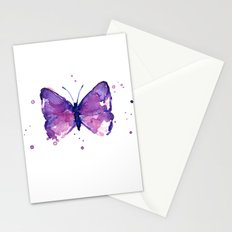Butterfly Purple Watercolor Stationery Cards