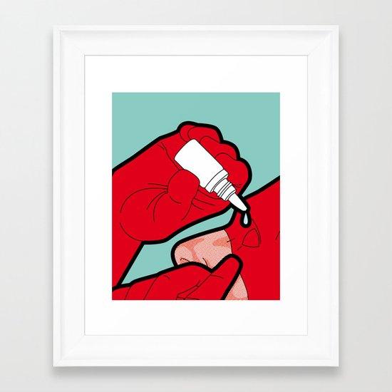 The secret life of heroes - Red Eye Framed Art Print