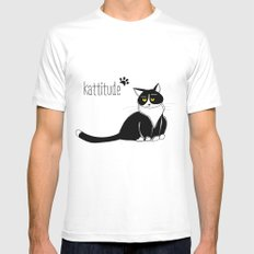 Kattitude Mens Fitted Tee White SMALL