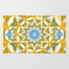 Wheel cover kaleidoscope in blue and gold Rug