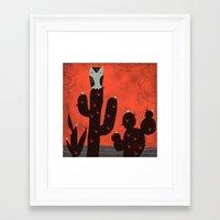 LONE OWL ON CACTUS Framed Art Print