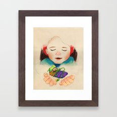 winter boy and fairy Framed Art Print