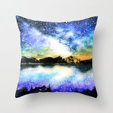 Starry Night Over The La… Throw Pillow