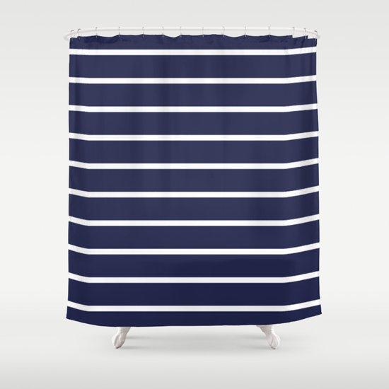 Navy white stripe pattern shower curtain by rexlambo society6