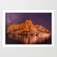 Island milky way and shooting star Art Print