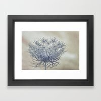 Vintage Wildflower Botanical Queen Anne's Lace in Blue Framed Art Print