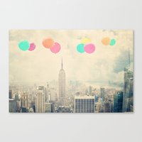 Balloons Over The City Canvas Print