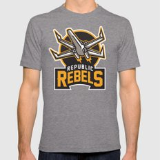 Republic Rebels - Black Mens Fitted Tee Tri-Grey SMALL