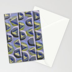 Blue Lino and Digital Pattern Print Stationery Cards