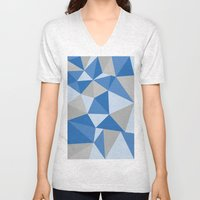 Blue & Gray Geometric Unisex V-Neck