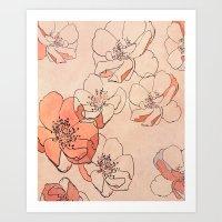 Painted Wild Roses Art Print