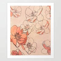 Painted Wild Roses Art Print