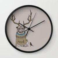 Deer Pug Wall Clock