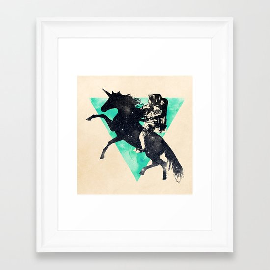 Ride the universe Framed Art Print