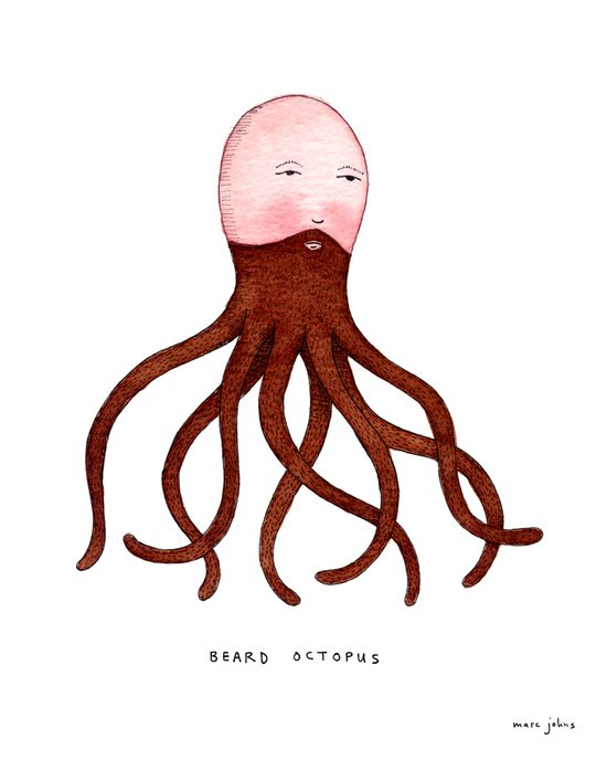 Beard Octopus Art Print