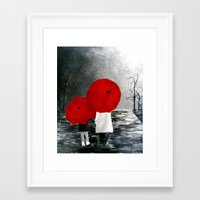 Black White Red mother and child with Umbrella print of painting rainy cloudy surrealism Framed Art Print