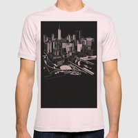 New York Black and White Mens Fitted Tee Light Pink SMALL