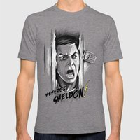 Heeere's Sheldon! Mens Fitted Tee Tri-Grey SMALL