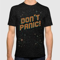 Don't Panic! Pixel Art Mens Fitted Tee Tri-Black SMALL