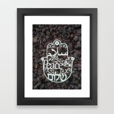 Hamsa paper cut -peace in 3 languages Hebrew, Arabic and English wall decor Framed Art Print