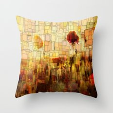 Poppies in the Sun Mosaic Throw Pillow
