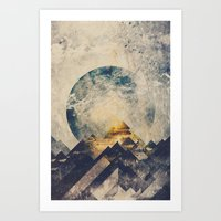 geometric Art Prints featuring One mountain at a time by HappyMelvin