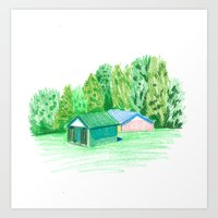 Park Buildings Art Print