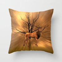 Golden stag Throw Pillow