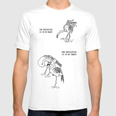 Revolutionary Flamingos White SMALL Mens Fitted Tee
