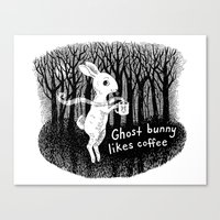 Ghost bunny likes coffee Canvas Print