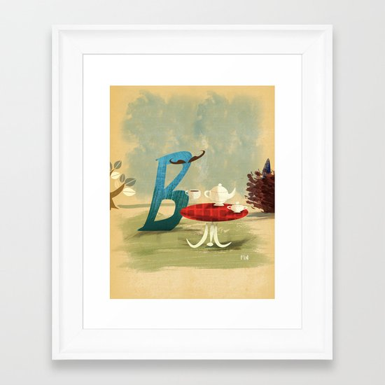Time for Tea with Letter B Framed Art Print