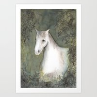 White Horse And Ivy Art Print