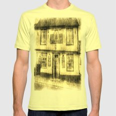 The Coopers Arms Pub Rochester Vintage Mens Fitted Tee Lemon SMALL