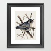 Grey Birdy 2 Framed Art Print
