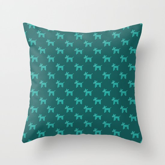Dogs-Teal Throw Pillow