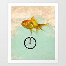 Unicycle Gold Fish -2 Art Print