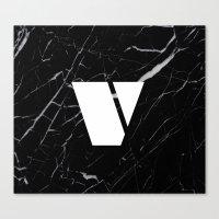 Black Marble - Alphabet V Canvas Print