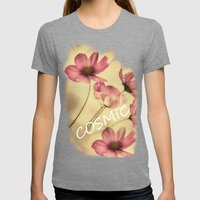 Dreamy Cosmea Womens Fitted Tee Tri-Grey SMALL