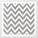 gray chevron Art Print