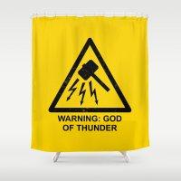 Warning: God of Thunder Shower Curtain