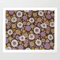Retro Floral Sheet Purpl… Art Print