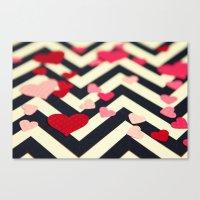 Chevron and Hearts Canvas Print