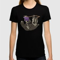 Reading Sloth Womens Fitted Tee Black SMALL