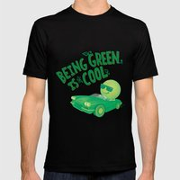 Being Green is Cool Mens Fitted Tee Black SMALL
