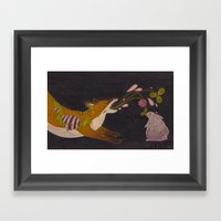 Fox And Rabbit Framed Art Print