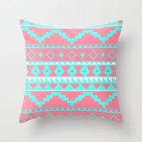 Aztec Pattern 2 Teal & Pink Throw Pillow